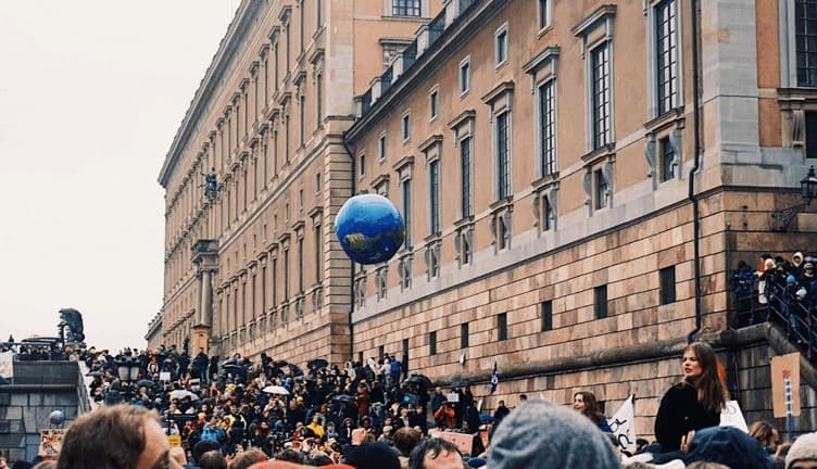 crowd at #SchoolStrike4Climate in Stockholm